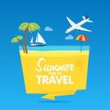 Χρόνος να ταξιδεψει, θερινές διακοπές, διανυσματικό επίπεδο υπόβαθρο και διακριτικά απεικονίσεων αντικειμένων tamplate Ελεύθερη απεικόνιση δικαιώματος