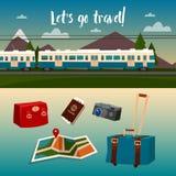 Χρόνος να ταξιδεψει με το τραίνο διανυσματική απεικόνιση