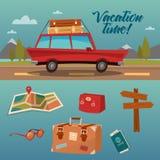 Χρόνος οικογενειακών διακοπών Διακοπές με το αυτοκίνητο απεικόνιση αποθεμάτων