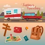 Χρόνος οικογενειακών διακοπών Διακοπές με το τροχόσπιτο ελεύθερη απεικόνιση δικαιώματος