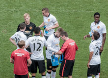 Χρόνος σπασιμάτων κατά τη διάρκεια του παιχνιδιού της Manchester United Στοκ Εικόνα