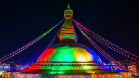 Χρόνος-σφάλμα του stupa Boudhanath στο Κατμαντού, Νεπάλ απόθεμα βίντεο