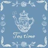 Χρόνος τσαγιού απεικόνισης αποθεμάτων με αναδρομικό teapot και τη διαμορφωμένη διανυσματική εικόνα διανυσματική απεικόνιση