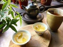 Χρόνος τσαγιού, πολιτισμός τσαγιού & x28 κινεζικό τσάι pot& x29  Στοκ Εικόνα