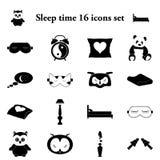 Χρόνος 16 ύπνου απλά εικονίδια καθορισμένα Στοκ Φωτογραφία