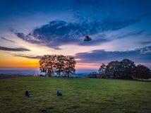 Χρώματα ηλιοβασιλέματος της Γερμανίας φύσης κηφήνων στοκ εικόνες με δικαίωμα ελεύθερης χρήσης