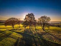 Χρώματα ηλιοβασιλέματος της Γερμανίας φύσης κηφήνων στοκ φωτογραφίες