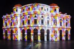 Χρώματα και αποτελέσματα φωτισμού στην πόλη του Μπιλμπάο Στοκ Εικόνες