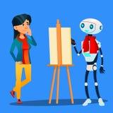 Χρώματα καλλιτεχνών ρομπότ Easel στο πορτρέτο του διανύσματος γυναικών απομονωμένη ωθώντας s κουμπιών γυναίκα έναρξης χεριών απει ελεύθερη απεικόνιση δικαιώματος