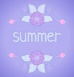 Χρώματα κρητιδογραφιών με τα λουλούδια διανυσματική απεικόνιση
