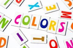 Χρώματα λέξης φιαγμένα από ζωηρόχρωμες επιστολές Στοκ Εικόνες