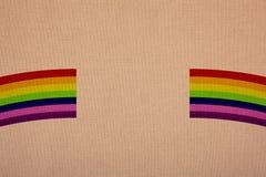 Χρώματα ουράνιων τόξων στον καμβά, λιανική πώληση σε μια ενίσχυση στοκ εικόνες