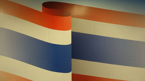 Χρώματα σημαιών της Ταϊλάνδης που τίθενται στον τοίχο Στοκ Φωτογραφία