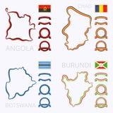 Χρώματα της Ανγκόλα, του Chad, της Μποτσουάνα και του Μπουρούντι Στοκ Εικόνα