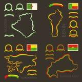 Χρώματα της Αλγερίας, του Μπενίν, της Γουινέα-Μπισσάου και της Μπουρκίνα Φάσο Στοκ Εικόνες