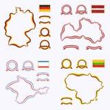 Χρώματα της Γερμανίας, της Λετονίας, της Λιθουανίας και της Κριμαίας Στοκ Εικόνες