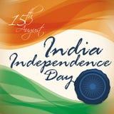 Χρώματα της Ινδίας με το γραμματόσημο για να γιορτάσει τη ημέρα της ανεξαρτησίας, διανυσματική απεικόνιση Στοκ Εικόνα
