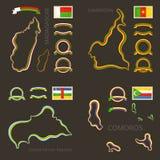 Χρώματα της Μαδαγασκάρης, του Καμερούν, της Κεντροαφρικανικής Δημοκρατίας και των Κομορών Στοκ Εικόνα