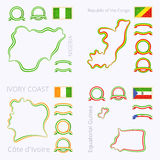 Χρώματα της Νιγηρίας, Δημοκρατία του Κονγκό, της Ακτής Ελεφαντοστού και της Ισημερινής Γουινέας Στοκ Εικόνα