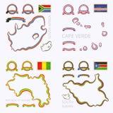 Χρώματα της Νότιας Αφρικής, του Πράσινου Ακρωτηρίου, της Γουινέας και του Νότιου Σουδάν Στοκ Φωτογραφία