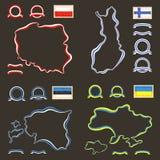 Χρώματα της Πολωνίας, της Φινλανδίας, της Εσθονίας και της Ουκρανίας Στοκ εικόνα με δικαίωμα ελεύθερης χρήσης