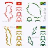 Χρώματα της Τυνησίας, της Τανζανίας, της Ουγκάντας και Zanzibar Στοκ εικόνες με δικαίωμα ελεύθερης χρήσης