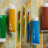 Χρώματα της φύσης - μίγμα πράσινος, μπλε, κίτρινος και καφετής - χ Στοκ Εικόνες