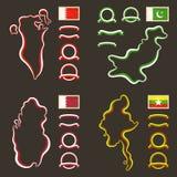 Χρώματα του Μπαχρέιν, του Πακιστάν, του Κατάρ και του Μιανμάρ (Βιρμανία) Στοκ Εικόνες