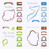 Χρώματα του Σουδάν, της Σομαλίας, του Σάο Τομέ και Πρίντσιπε και της Σουαζιλάνδης Στοκ Εικόνα