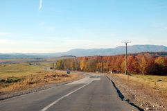 Χρώματα φθινοπώρου στα βουνά στην ημέρα στοκ εικόνες
