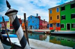 Χρώματα Burano, Βενετία Στοκ Φωτογραφίες