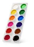 Χρώματα Watercolor στο κιβώτιο που απομονώνεται στο λευκό Στοκ φωτογραφίες με δικαίωμα ελεύθερης χρήσης