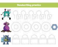 Χρώμα από τον αριθμό, παιχνίδι εκπαίδευσης για τα παιδιά Χρωματίζοντας σελίδα, που σύρει τη δραστηριότητα παιδιών Σχέδιο ρομπότ ελεύθερη απεικόνιση δικαιώματος