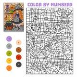 Χρώμα από τον αριθμό, το παιχνίδι εκπαίδευσης, τη μάγισσα και το καζάνι με τη μαγική φίλτρο ελεύθερη απεικόνιση δικαιώματος