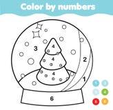 Χρώμα από τους αριθμούς για τα παιδιά Εκπαιδευτικό παιχνίδι για τα παιδιά Σφαίρα χιονιού Χριστουγέννων Εκτυπώσιμη δραστηριότητα π ελεύθερη απεικόνιση δικαιώματος