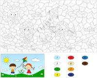 Χρώμα από το εκπαιδευτικό παιχνίδι αριθμού για τα παιδιά Ένα αγόρι και ένα παιχνίδι κοριτσιών Στοκ εικόνες με δικαίωμα ελεύθερης χρήσης