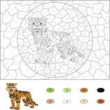 Χρώμα από το εκπαιδευτικό παιχνίδι αριθμού για τα παιδιά Κινούμενα σχέδια saber-οδοντωτά Στοκ εικόνα με δικαίωμα ελεύθερης χρήσης