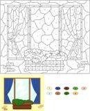 Χρώμα από το εκπαιδευτικό παιχνίδι αριθμού για τα παιδιά Παράθυρο με το λουλούδι po Στοκ Εικόνες
