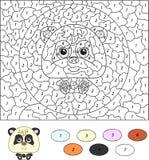 Χρώμα από το εκπαιδευτικό παιχνίδι αριθμού για τα παιδιά cute draw hand panda διάνυσμα Στοκ Φωτογραφία