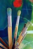 χρώμα βουρτσών καλλιτεχνών Στοκ Εικόνες