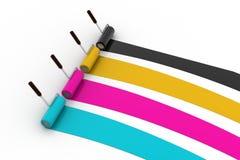 Χρώμα βουρτσών κυλίνδρων cmyk Στοκ εικόνες με δικαίωμα ελεύθερης χρήσης