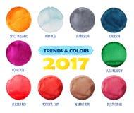 Χρώμα και τάσεις του έτους 2017 Χρωματισμένοι χέρι κύκλοι Watercolor καθορισμένοι Όμορφα στοιχεία σχεδίου Στοκ φωτογραφίες με δικαίωμα ελεύθερης χρήσης