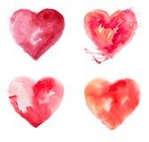 Χρώμα καρδιών αγάπης watercolour Στοκ Φωτογραφίες