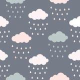 Χρώμα κρητιδογραφιών του άνευ ραφής σχεδίου σύννεφων και σταγόνων βροχής απεικόνιση αποθεμάτων
