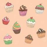Χρώμα κρητιδογραφιών Cupcakes muffins γλυκό Ελεύθερη απεικόνιση δικαιώματος