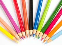 χρώμα κύκλων κατά το ήμισυ pencile Στοκ φωτογραφία με δικαίωμα ελεύθερης χρήσης