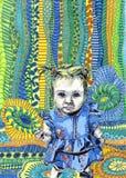 Χρώμα μικρών κοριτσιών απεικόνιση αποθεμάτων