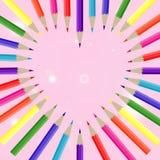 Χρώμα μολυβιών καρδιών Στοκ Φωτογραφίες