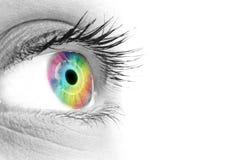 Χρώμα ουράνιων τόξων στο μάτι μιας όμορφης γυναίκας στοκ εικόνα