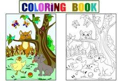 Χρώμα παιδιών και χρωματίζοντας φίλοι ζώων κινούμενων σχεδίων στη φύση Νεοσσός, κουτάβι και γατάκι Πάπια, σκυλί και γάτα ελεύθερη απεικόνιση δικαιώματος